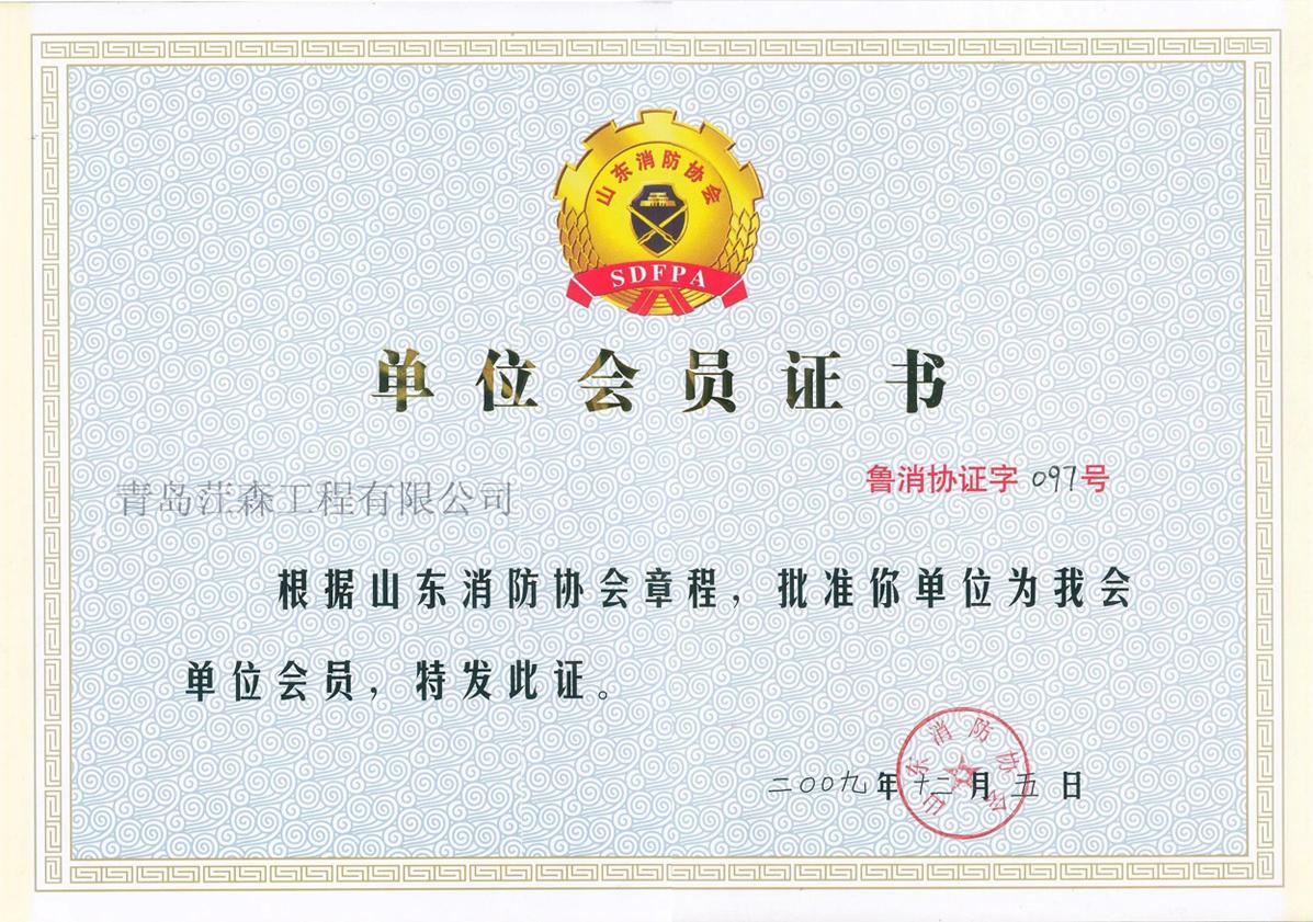 山东消防协会会员证书